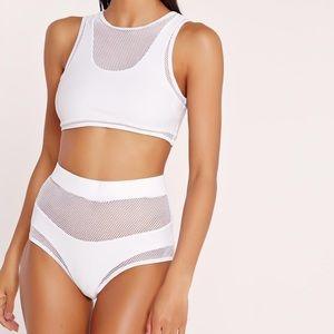 Missguided White Mesh Detail High Waisted Bikini